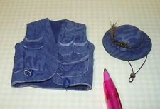 Miniature Wearable Blue Leather Fishing Vest and Hat Set: DOLLHOUSE 1/12 Scale