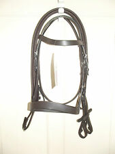 NEW ** HAVANA BROWN LEATHER ** PONY SIZE HUNTER BRIDLE & REINS M&M SHOWING SHOW