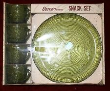 NIB Vintage Anchor Hocking Soreno Avocado Unopened New in Box 8 Piece Snack Set!