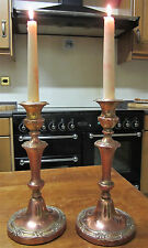 Old Pair Antique Victorian Copper on Brass Candlesticks Candle Holders c1890