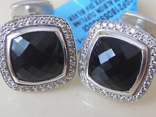 $2000 DAVID YURMAN STERLING BLACK ONYX PAVE DIAMOND CUFFLINKS