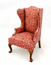 Dolls House Pink Queen Ann Wing Back Fireside Armchair Living Room Furniture