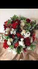 10x Artificial Flower Greenery Bunches Fake Silk Christmas Joblot Red Gold Holly
