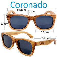 Coronado Polarized Wayfarer Zebrawood Sunglasses Brown Wood Sun Glasses UVA UVB