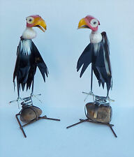 """SET OF TWO (2) YARD ART METAL BUZZARD SULPTURES WITH ROCK BASE VULTURE 14 1/2"""""""