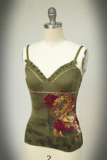 NWT RAW 7 100% Cashmere Knit Camisole Dragon Embroidery Stitching Small 0/2