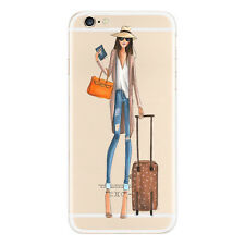 Shockproof Fashion Girl Pattern Clear Silicone Case Cover For iPhone 6 6S Plus