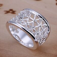 Modern Women 925 Sterling Silver Plated Stylish Hollow Wide Solid Ring Jewelry 8
