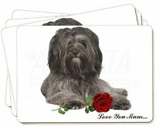 Tibetan Terrier+Rose 'Love You Mum' Picture Placemats in Gift Box, AD-TT2RlymP