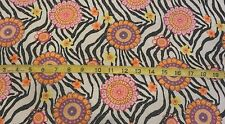 Colorful Flowers Zebra Animal Print w/ Silver Glitter Cotton Flannel Fabric BTY