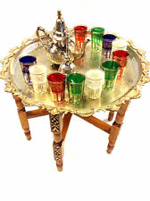 Vintage Traditional Moroccan Tea Folding Table & Silver Teapot 6 Glasses Set
