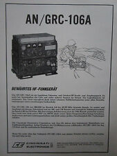 6/1978 PUB CINCINNATI ELECTRONICS AN/GRC-106A US ARMY RADIO ORIGINAL GERMAN AD