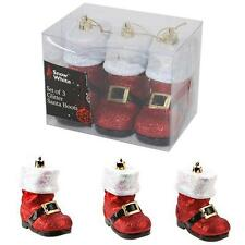 Christmas Tree Decoration Set of 3 Glitter Santa Boot Baubles