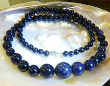 6-14mm Galaxy Staras Blue Sand Sun Sitara Gems Round Beads Necklace 18""