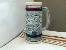 1982  SLENDER BLUE MUG MADE FOR AVON PRODUCTS HISTORY OF AIRCRAFT PATTERN