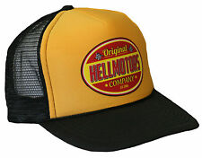 Hellmotors Trucker Mesh Cap Gelb Hot Rod V8 US Car Old School Bike Vintage Mütze