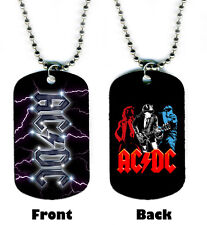 DOG TAG NECKLACE -  ACDC AC/DC 2 Lightning Logo Angus Young Highway to Hell TNT