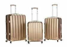 Rockland Luggage 3 PC Spinner Hardcase Expandable Santa Fe Bronze Gold Suitcases