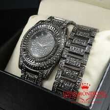 BRAND NEW GUN BLACK LAB DIAMOND SIMULATE BLINGMASTER WATCH BRACELET SET MEN'S