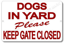 "Beware of Dog Keep Gate Closed Sign 100% Aluminum Brand New 8"" x 12"" Red Text"