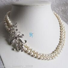 "18-19"" 6-7mm 2Row White Freshwater Pearl Necklace BS UJ"
