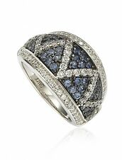 SUZY LEVIAN Criss-Cross Blue Sapphire and Brown Diamond Silver 18K Gold Ring