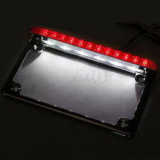 Chrome Motorcycle License Plate Frame Holder With LED Tail Brake Light Universal