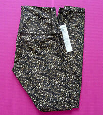 LULULEMON Gold SHINE TIGHT 4 Roll Down WUNDER UNDER PANT Leggings SHIMMER Shimmy