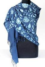 Navy Blue Wool Shawl with Light Blue Crewel Embroidery Ari Embroidered Paisely