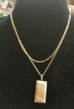 Italian Agate Necklace  - Rectangular Beige Pendant .925 14kt Gold Plated