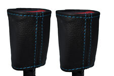 BLUE STICH 2X FRONT SEAT BELT BUCKLE LEATHER COVERS FOR HOLDEN COMMODORE VR VS