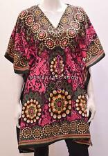 PLUS SIZE HIPPIE RETRO FLOWER WHEEL SNAKE SKIN PRINT SHORT KAFTAN PINK 26 28 30