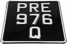 6.5x6.5 SMALL Black and Silver 3 Rows Motorcycle Bike PRESSED Number Plate show