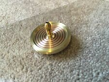 Brass spinning top with ceramic bearing and ring design (over 7 min spin)