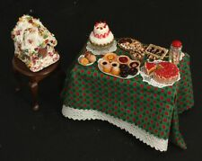 Christmas Holiday Treat Feast Doll House Miniature Furniture Candy Cake Table