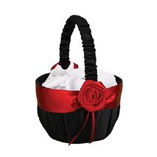 Midnight Rose Black and Red Wedding Flower Girl Basket
