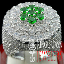 REAL WHITE GOLD SILVER MENS BIG GREEN EMERALD LAB DIAMOND HUGE JUMBO RING BAND