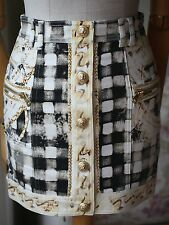 BALMAIN DENIM PRINT MINI SKIRT FR 36 UK 8 US 4