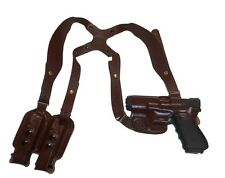 CUSTOM MADE LEATHER HORIZONTAL SHOULDER HOLSTER BLACK RH RIGHT BROWNING 1911 380