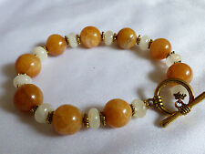 "Yellow Honey Jade Round stone beads toggle goldtone clasp bracelet 8.5""L"