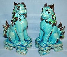 Pair Set Chinese Porcelain Pottery FOO DOG Figurine Statue Shishi Lion Asian Art