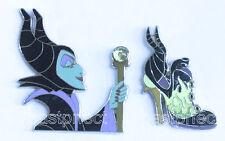 Disney 2 Pin Set MALEFICENT PROFILE & SHOE Jeweled Staff Sleeping Beauty WDW