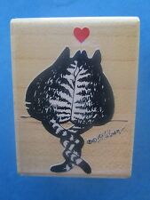 KLIBAN CAT Rubber Stamp CAT HOLDING TIGHT Valentine SWEETHEARTS Rubber Stampede