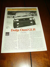 1984 SHELBY DODGE OMNI GLH   ***ORIGINAL  ARTICLE / SPECIFICATIONS***