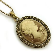 VTG Antique ST Brown Designer Cameo Necklace Pendant 3b