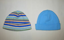 NEWBORN INFANT BABY BOY GERBER BLUE STRIPED RIBBED BEANIE CAP HAT LOT NB 5-8 LBS