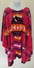 Pink Native American Southwestern Tribal Poncho Maxi Coat Dress Festival Bridal