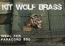 KIT SOLID BRASS WOLF  FOR PARACORD LANYARD KNIFE EDC WITH 2 BRASS CORD TIPS