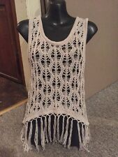 Women's Daytrip L Tank Top Beige Fringe See Through Sweater Awesome Ladies  Cute