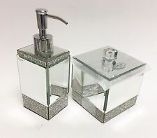 NEW BELLA LUX 2 PC SET GLASS MIRROR CRYSTAL FANCY BATHROOM SOAP DISPENSER+JAR